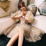ボリューム袖が可愛いスパンコールの韓国ワンピース お呼ばれやディナーで着たい韓国ドレス