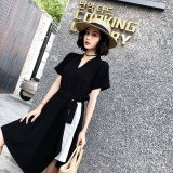大人女子に似合うストライプスリットの韓国ワンピース お呼ばれや食事で着たいラップドレス