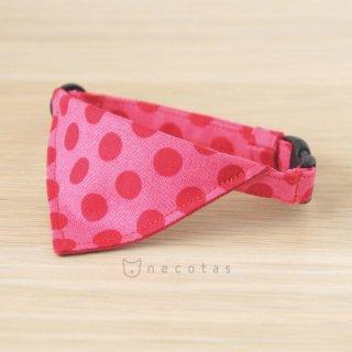 猫 首輪 バンダナ 大きなドット ピンク セーフティ猫首輪