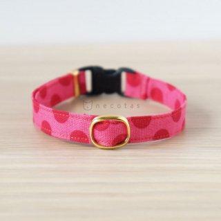 猫 首輪 大きなドット ピンク セーフティ猫首輪