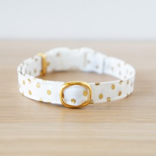 猫 首輪 キラキラドット ホワイト セーフティ猫首輪