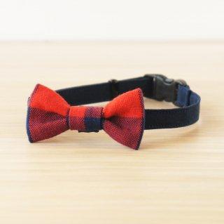 猫 首輪 リボン 赤紺ギンガムチェック  セーフティ猫首輪