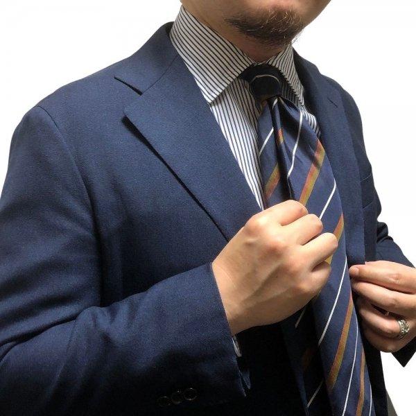 Atto Vannucci (アットヴァンヌッチ) ネイビー / セッテピエゲ / レジメンタル / フルハンドメイド / ネクタイ