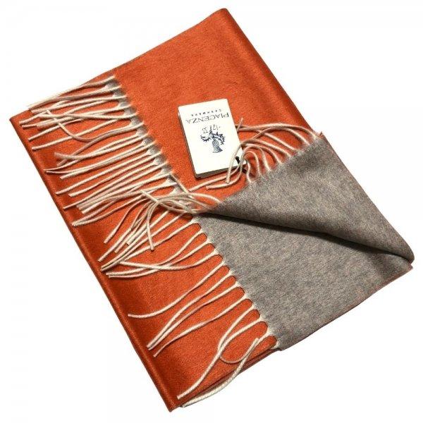 PIACENZA(ピアチェンツァ) オレンジ × ライトグレー / ダブルフェイス / シルクカシミヤ / マフラー