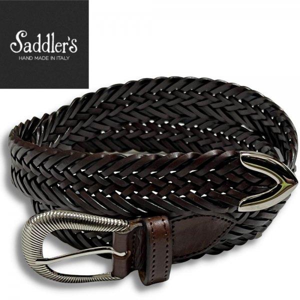 Saddler's (サドラーズ) /  ブラウン×ネイビー / ウエスタンバックル / プンターレ使用 / 2色使いレザーメッシュベルト