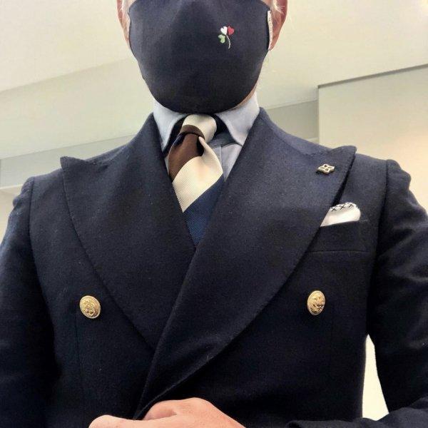 MUNGAI (ムンガイ)  マスク / ネイビー / イタリアンハートクローバー / ハンドメイド メインイメージ