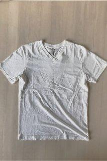 メンズ オーガニックコットン ホワイトVネックTシャツ(送料無料)
