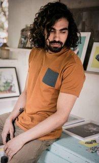 [No Nasties] オーガニックコットン メンズポケットTシャツ (橙)