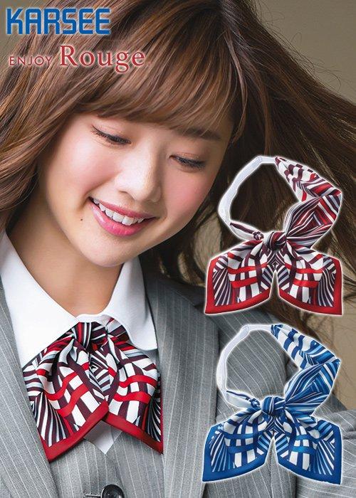 シャープな幾何学柄で凛としたクラシカルな印象のリボンスカーフ|カーシーカシマ EAZ724