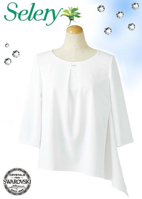 胸元のクリスタルが煌めくアシンメトリーヘムのプルオーバー≪ホワイト≫|セロリー S-37028