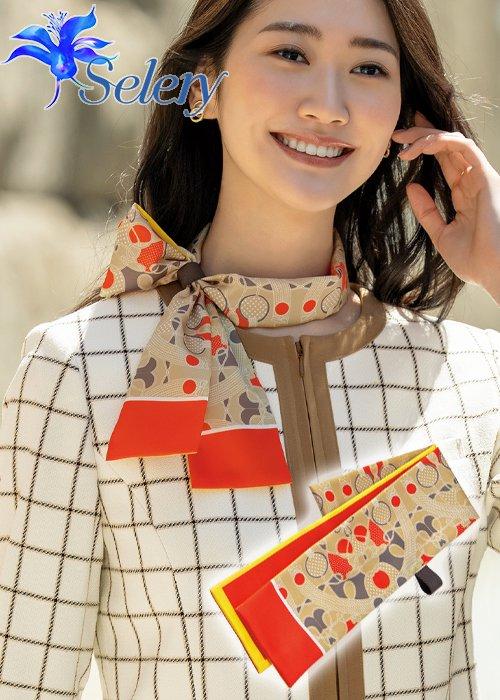 商品型番:S-98311| 【20-21年秋冬新作】コントラストのある配色にレトロが香るスカーフ《ベージュ》|セロリー S-98311