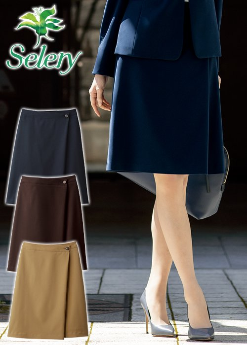 商品型番:S-12021|【20-21年秋冬新作】スウェード調生地のラップ風Aラインスカート(ネイビー)|セロリー S-12021