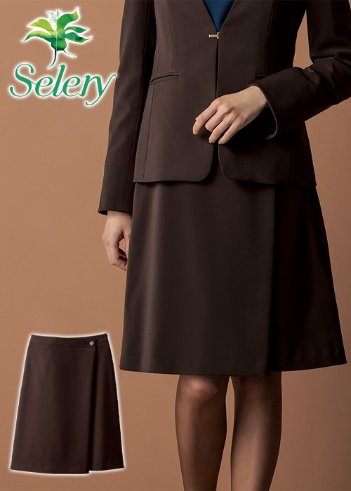 【20-21年秋冬新作】スウェード調生地のラップ風Aラインスカート(ブラウン)|セロリー S-12027