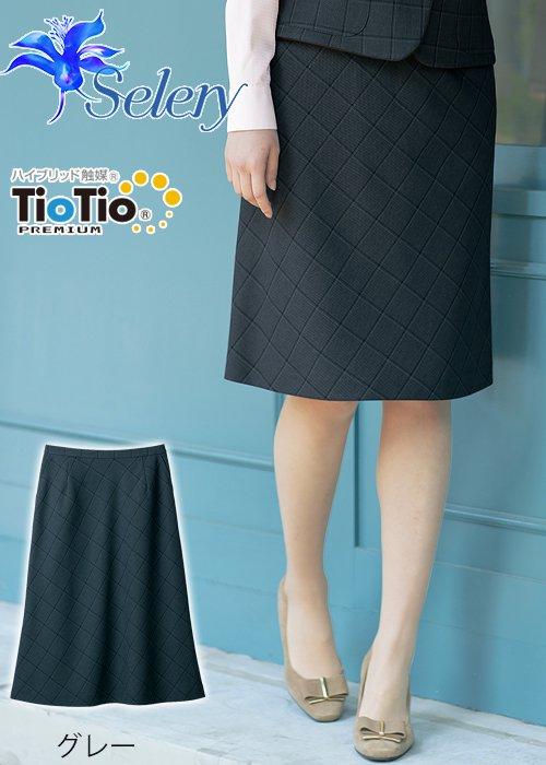 商品型番:S-16969|【TioTioプレミアム】ブリティッシュな秋ムード・マスキュリンチェックAラインスカート(グレー)|セロリー S-16969