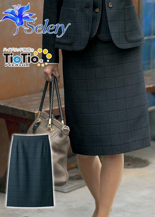 商品型番:S-16959 【TioTioプレミアム】小粋なトラッド・マスキュリンチェックのタイトスカート(グレー) セロリー S-16959