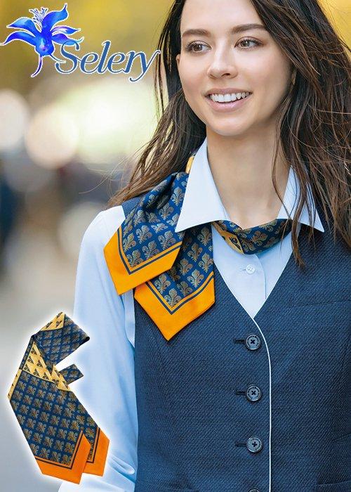 《パトリックコックス》百合の紋章モチーフのループ付スカーフリボン(オレンジ)|セロリー S-98260
