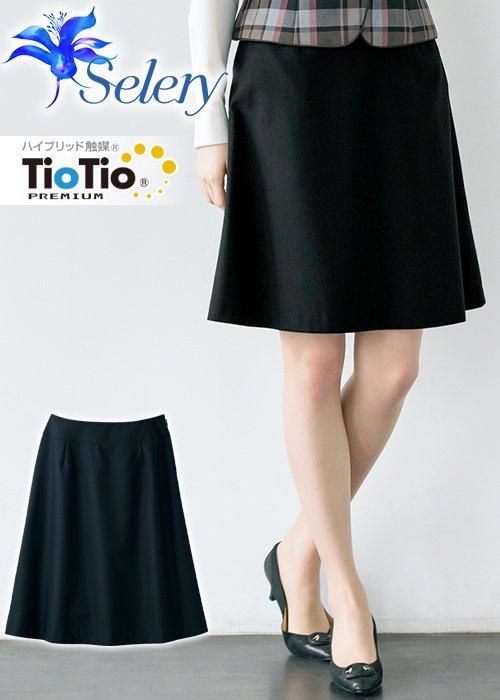 商品型番:S-16360|【TioTioプレミアム】抗菌・抗ウイルス加工のシンプルなAラインスカート(ブラック)《パトリックコックス》|セロリー S-16360