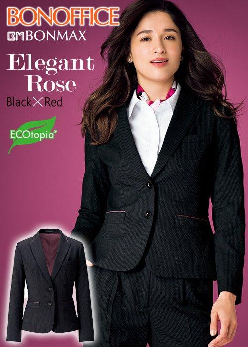 商品型番:AJ0258|【人気】着るだけで華やぐブラック×レッド・エレガントローズのテーラードジャケット|ボンマックス AJ0258