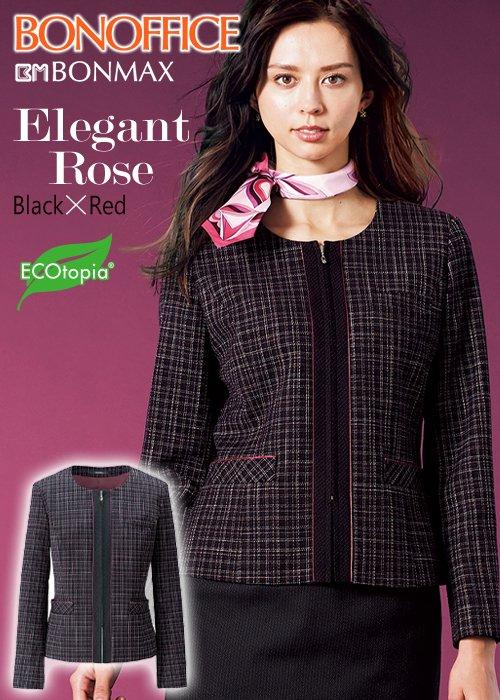 商品型番:AJ0259|【人気】着るだけで華やぐブラック×レッド・エレガントローズのノーカラージャケット|ボンマックス AJ0259