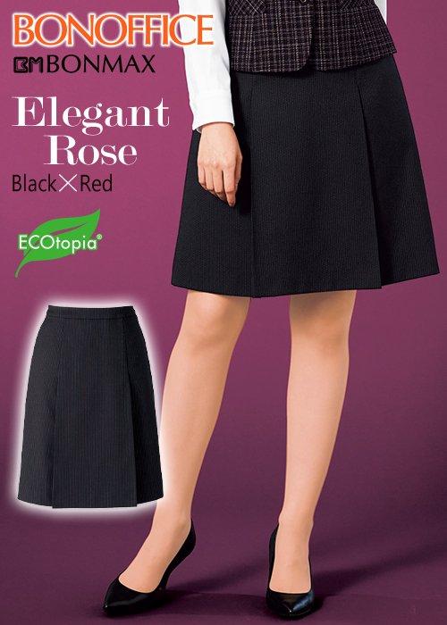 【人気シリーズ】ブラックにレッドの華やぎ、エレガントローズのプリーツスカート|ボンマックス AS2305