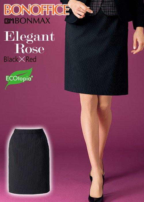 【人気】ブラックにレッドの華やぎ、エレガントローズのタイトスカート|ボンマックス AS2306