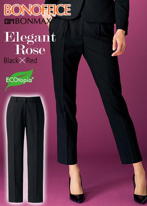 【人気】どこか女っぽい、ローズレッドを含んだブラック・テーパードパンツ《裾上げ済》|ボンマックス AP6242
