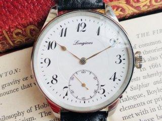 【極上品】LONGINES ロンジン アンティークウォッチ 懐中腕時計 リケース 47mm 裏スケルトン 本革 ゴールドスペード針 lg092501