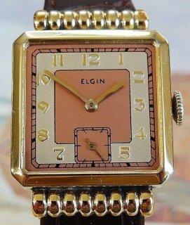 超美品!エルジン1939年【3ヶ月動作保証】完全OH&新品仕上げ済ELGINピンク&シルバー文字盤アンティーク腕時計手巻きメンズELG19060601