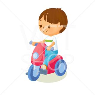 おもちゃのバイクにのる少年
