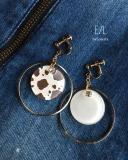 Dalmatian asymmetry big hoop pierce/earring(004603)