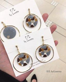 Marble hoop pierce/earring(004601)