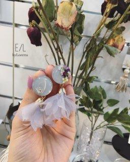 Circle mix flower chiffon tassel pierce/earring