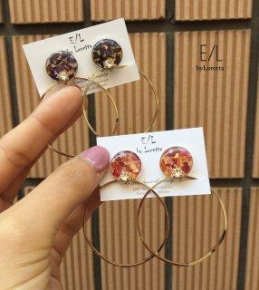 Flower big hoop pierce/earring