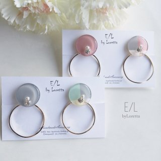 (全2色)2way 3color hoop pierce/earring