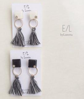 (全2色)2way color square mix tassel pierce/earring