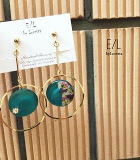 Circle mix flower stick hoop pierce/earring
