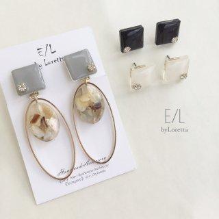 (全3色)Color square shell oval hoop pierce/earring