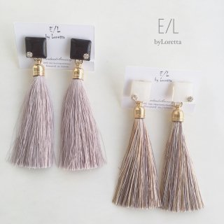 Color square long tassel pierce/earring