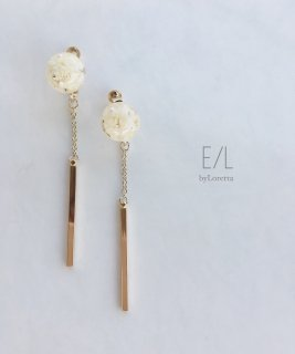 Mini Flower Ball Chain Stick Pierce/Earring(White)