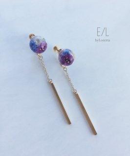 Mini flower ball chain stick pierceearring