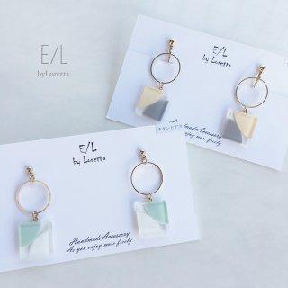 《全2色》Square color hoop pierce/ earring