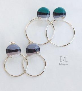 (全2色)Circle Art Hoop Pierce/earring