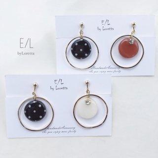 (全2色)Asymmetry circle dot hoop pierce/earring