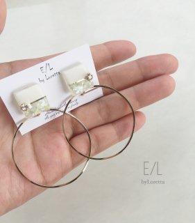 Square bi-color shell hoop pierce/earring