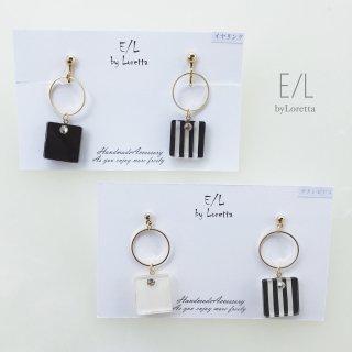 Square stripe hoop  pierce/earring