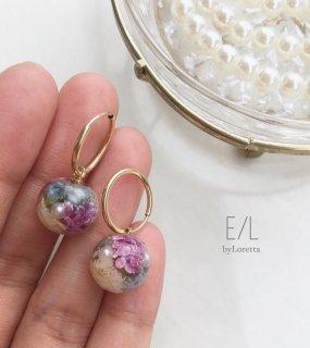 2way Mini flower ball hoop pierce/earring