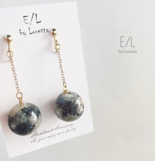 Flowerball chain pierce/earring(Antique blue)