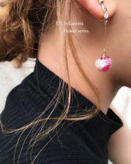 Mini Flower Ball Stick Pierce/Earring(Hot pink)