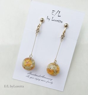 Mini Flower Ball Stick Pierce/Earring(Oange)