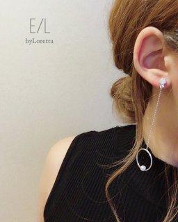 【20% OFF!!】Asymmetry chain hoop pierce(silver)